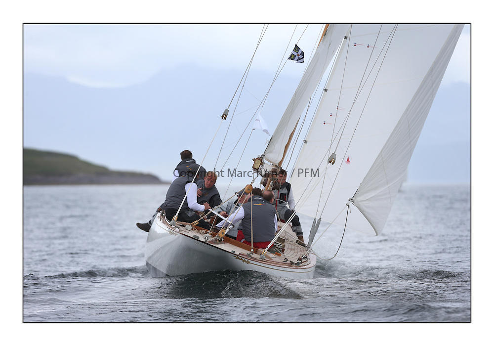 Day one of the Fife Regatta, Round Cumbraes Race.<br /> <br /> Saskia, 13, Murdoch McKillop, GBR, Bermudan Sloop, Wm Fife 3rd, 1931<br /> <br /> * The William Fife designed Yachts return to the birthplace of these historic yachts, the Scotland's pre-eminent yacht designer and builder for the 4th Fife Regatta on the Clyde 28th June–5th July 2013<br /> <br /> More information is available on the website: www.fiferegatta.com