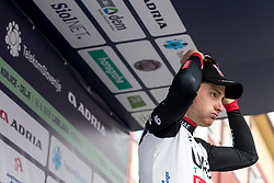 Simone Consonni of UAE celebrates at the ceremony after 1st Stage of 25th Tour de Slovenie 2018 cycling race between Lendava and Murska Sobota (159 km), on June 13, 2018 in  Slovenia. Photo by Matic Klansek Velej / Sportida