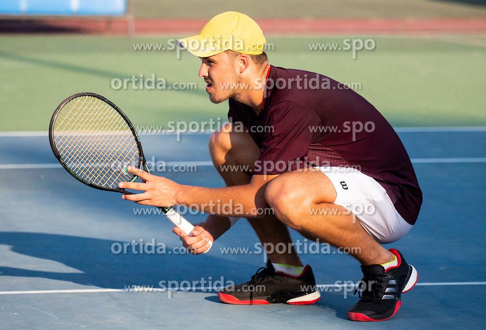 Aljaz Jakob Kaplja (SLO) playing doubles during Day 4 of ATP Challenger Zavarovalnica Sava Slovenia Open 2018, on August 6, 2018 in Sports centre, Portoroz/Portorose, Slovenia. Photo by Vid Ponikvar / Sportida