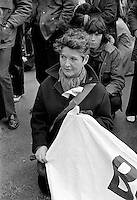 Northern Ireland Civil Rights March near Magilligan Prison, Co Londonderry, Saturday, 11th March 1972. British author, peace campaigner & co-founder of CND, dark coat, short hair, holding end of banner, was a participant in the parage. 197203110110c, pacemaker press; linenhall; n ireland troubles; troubles..Copyright Image from Victor Patterson, 54 Dorchester Park, Belfast, UK, BT9 6RJ..Tel: +44 28 9066 1296.Mob: +44 7802 353836.Voicemail +44 20 8816 7153.Skype: victorpattersonbelfast.Email: victorpatterson@me.com.Email: victorpatterson@ireland.com (back-up)..IMPORTANT: If you wish to use this image or any other of my images please go to www.victorpatterson.com and click on the Terms & Conditions. Then contact me by email or phone with the reference number(s) of the image(s) concerned.