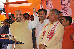 April 27, 2017 - Kolkata, West Bengal, India - Indian Bharatiya Janta Party (BJP) national president Amit Shah addresses party workers in a neighbourhood in Kolkata on April 27, 2017. The BJP leader's three-day tour of West Bengal aims to strengthen party support ahead of panchayat, or local body, elections in the state in 2018, and ahead of the 2019 national election, where Prime Minister Narendra Modi will seek a second term. (Credit Image: © Debajyoti Chakraborty/NurPhoto via ZUMA Press)