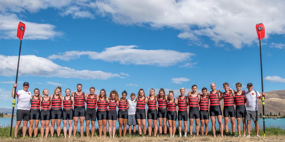 Crews competing at the NZ Champs on Monday 18 February 2019, Lake Ruataniwha, Twizel.<br /> <br /> © Copyright photo Steve McArthur / @RowingCelebration   www.rowingcelebration.com