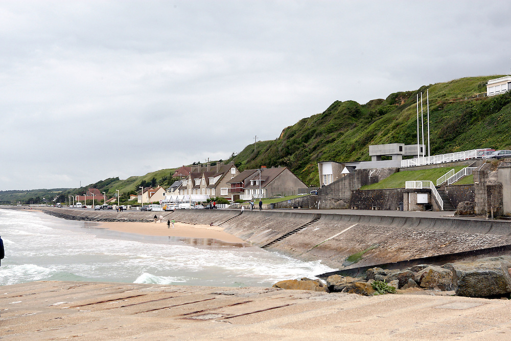 Omaha Beach is the code name for one of the five sectors of the Allied invasion of German-occupied France in the Normandy landings on 6 June 1944, during World War II. The beach is located on the coast of Normandy, France, facing the English Channel, and is 5 miles (8 km) long, from east of Sainte-Honorine-des-Pertes to west of Vierville-sur-Mer on the right bank of the Douve River estuary. Landings here were necessary in order to link up the British landings to the east at Gold Beach with the American landing to the west at Utah Beach, thus providing a continuous lodgement on the Normandy coast of the Bay of the Seine. Taking Omaha was to be the responsibility of United States Army troops, with sea transport provided by the U.S. Navy and elements of the Royal Navy.