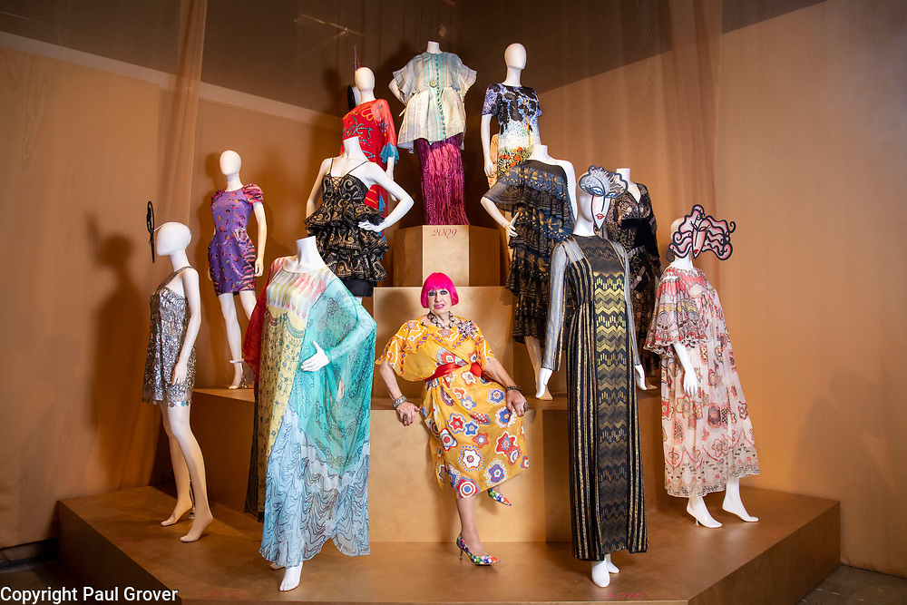 Commission Mcc0091631 Assigned<br /> Publication:<br /> Daily Telegraph<br /> Section:<br /> DT News<br /> There will be a colourful photo opportunity with the fabulous Dame Zandra Rhodes For the opening of her new exhibition 50 years of Fabulous at the Fashion and Textile museum.<br /> Pic Shows Dame Zandra with some of her  designs<br /> Contacts: