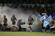 flags wave as Cardiff Blues players run out. Guinness Pro14 rugby match, Cardiff Blues v Dragons at the Cardiff Arms Park in Cardiff, South Wales on Friday 6th October 2017.<br /> pic by Andrew Orchard, Andrew Orchard sports photography.