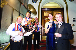 GP Booster Ball <br />Left to Right; <br />Doctors,Frances Oconnor and her Husband Dr Simon Oconnor enjoy the music of The Dixie Dudes Jazz Band welcoming guests to the GP Booster Ball<br /><br />Venue: Royal Victoria Hotel, (holiday inn), Sheffield<br />Date: Saturday 10 November