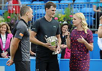 Tennis - 2017 Aegon Championships [Queen's Club Championship] - Day Seven, Sunday<br /> <br /> Men's Doubles, Final<br /> Jamie Murray [GBR] and Bruno Soares [Bra ]vs. Julien Benneteau [Fra] ans Edouard Roger - Vasselin [Fra]<br /> <br /> Presenter Catherine Whitaker talks to Jamie Murray [GBR] and Bruno Soares on Centre Court <br /> <br /> COLORSPORT/ANDREW COWIE