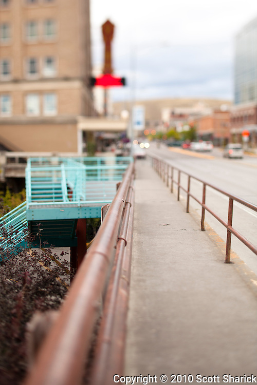 The view down the main street of Missoula Montana from a bridge sidewalk. Taken with a tilt-shift lens to gove a shallow depth of field. Missoula Photographer, Missoula Photographers, Montana Pictures, Montana Photos, Photos of Montana