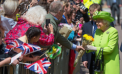 Queen Elizabeth ll meets the public during a visit to Chester on June 14, 2018