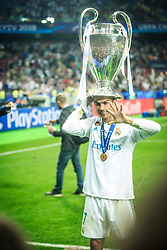 Cristiano Ronaldo of Real Madrid celebrates after they won 3-1 during the UEFA Champions League final football match between Liverpool and Real Madrid and became Champions League  2018 Champions third time in a row at the Olympic Stadium in Kiev, Ukraine on May 26, 2018.Photo by Sandi Fiser / Sportida