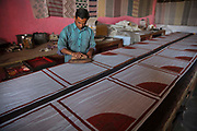 Hand block fabric printing workshop on 4th February 2018 in  Bagru, near Jaipur, Rajasthan, India.
