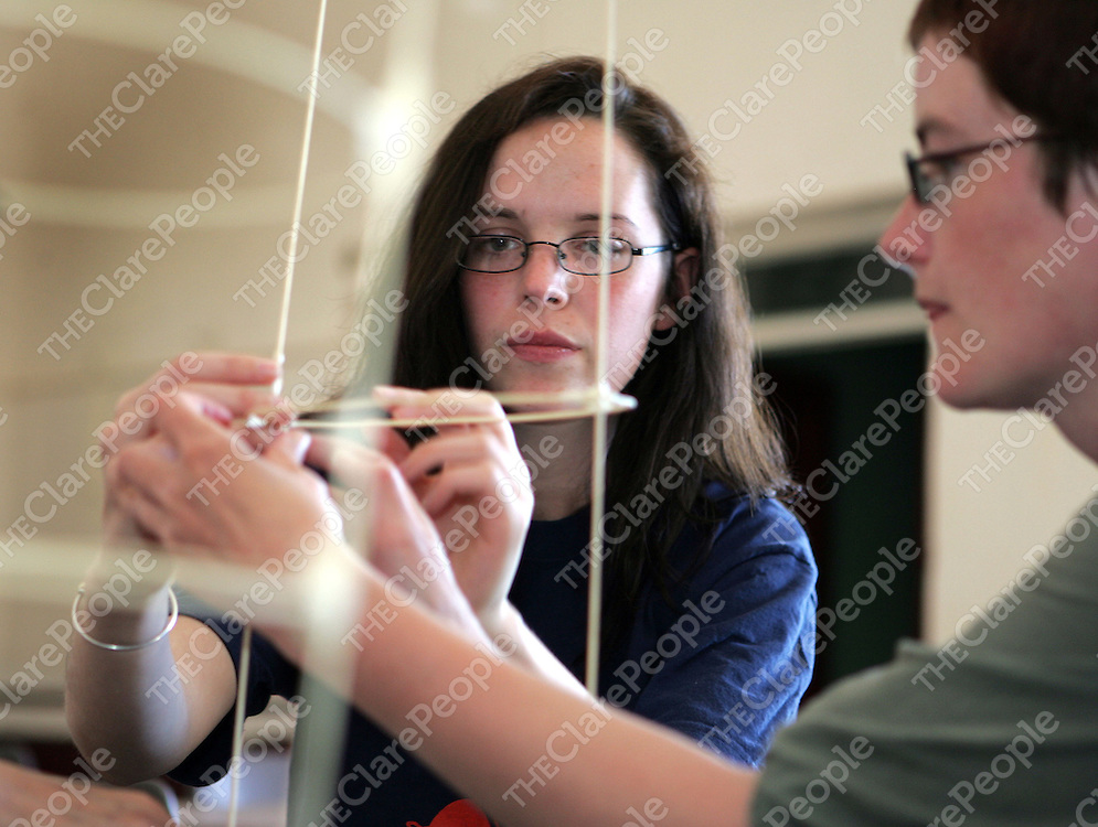 Elaine Fahey from Woodford and Mairead Burke from Whitegate at a latern making workshop at the Iniscealtra festival of Arts in Mountshannon over the weekend.<br />Picture: Don Moloney / Press 22