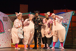 """© Licensed to London News Pictures. 05/08/2015. London, UK. L-R: Alison Jiear, Leanne Jones, Simon Webbe, Taofique Folarin and Daniel Buckley. West End premiere of the children's story """"The 3 Little Pigs"""" at the Palace Theatre starring Simon Webbe as Wolf, Alison Jiear as Mother, Leanne Jones as Bee, Taofique Folarin as Bar and Daniel Buckley as Q. The show runs from 5 August to 6 September 2015. Photo credit: Bettina Strenske/LNP"""
