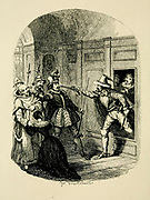 Guy Fawkes and Humphrey Chetham Rescuing Father Oldcorne and Viviana Radcliffe from the Pursuivant From the book ' Guy Fawkes; or, The gunpowder treason. An historical romance ' by William Harrison Ainsworth,, with illustrations on steel by  George Cruikshank. Published in London, by George Routledge and sons, limited in 1841. Guy Fawkes (13 April 1570 – 31 January 1606), also known as Guido Fawkes while fighting for the Spanish, was a member of a group of provincial English Catholics who was involved in the failed Gunpowder Plot of 1605. He was born and educated in York; his father died when Fawkes was eight years old, after which his mother married a recusant Catholic.