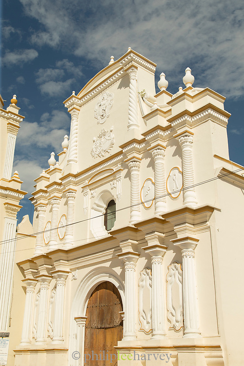 View of the door and the exterior of the La Merced church, Leon, Nicaragua