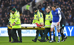 Birmingham City's Jonathan Grounds is stretchered off