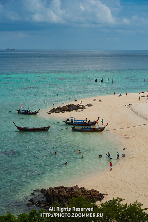 Longtail boats on Ko Lipe Sunrise beach, Thailand