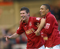 Photo: Dave Linney.<br />Walsall v Notts County. Coca Cola League 2. 25/11/2006.<br />Walsall new boy Tommy Wright (L) celebrates with   Mark Wright after making it 1-0 to Walsall.