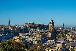 Skyline of Edinburgh from Calton Hill in early morning sunshine, Scotland, United Kingdom.