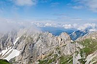 Clearing clouds over mountain ridge of Karwendel group in Northern Limestone Alps along the  Germany - Austria border