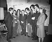 07/01/1977.01/07/1977.7th January 1977.The Aer Lingus Young Scientist Exhibition at the RDS Dublin. ..Picture shows the runners up in the group project, the Vocational School, Bandon Co. Cork. L-R J.P Hayes, Chairman of Aer Lingus, Patrick Reilly, Martin Burke, Justin Keating T.D., Minister for Industry and Commerce, Anthony Duggan, Frank Hunt, Kevin O'Sullivan and Evelyn McGloughlin from Aer Lingus. ..
