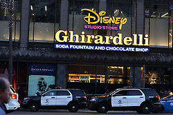 June 1, 2017 - Los Angeles, California, U.S - Jun 1, 2017 - Los Angeles, California, U.S. - A pit bull was shot by an off-duty Los Angeles police officer inside the famous Ghirardelli Ice Cream and Chocolate Shop in Hollywood. The animal attacked the cop and an off-duty security officer. Soon after, the LAPD officer fired at the dog. The dog was transported to an animal hospital in unknown condition. The two officers bitten were also transported to hospitals. (Credit Image: © Katrina Kochneva via ZUMA Wire)