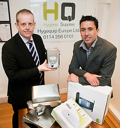 Jonathan Shaw Natwest Relationship Director Regional Coverage Banking meets with Matt Haslam Director of Hygequip Europe Ltd in Sheffield to take a look at some of the new Hygiene Supplies product lines they have been able to introduce into thier range thanks to A Natwest Loan..15 February 2011.Images © Paul David Drabble