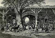 Engraving on steel of A street in Damascus from Picturesque Palestine, Sinai and Egypt by Wilson, Charles William, Sir, 1836-1905; Lane-Poole, Stanley, 1854-1931 Volume 2. Published in New York by D. Appleton in 1881-1884