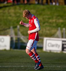 Broxburn Athletic's Craig Scott (2) celebrates after scoring their second goal. Broxburn Athletic FC 3 v 0 Cowdenbeath, William Hill Scottish Cup 2nd Round replay played 26/10/2019 at Albyn Park, Greendykes Road, Broxburn.