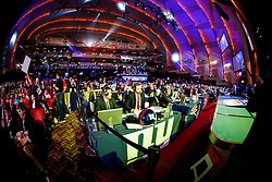 A general view of the hall with each team represented during the first round of the NFL Draft on April 26th 2012 at Radio City Music Hall in New York, New York. This image was taken with a fisheye lens. (AP Photo/Brian Garfinkel)