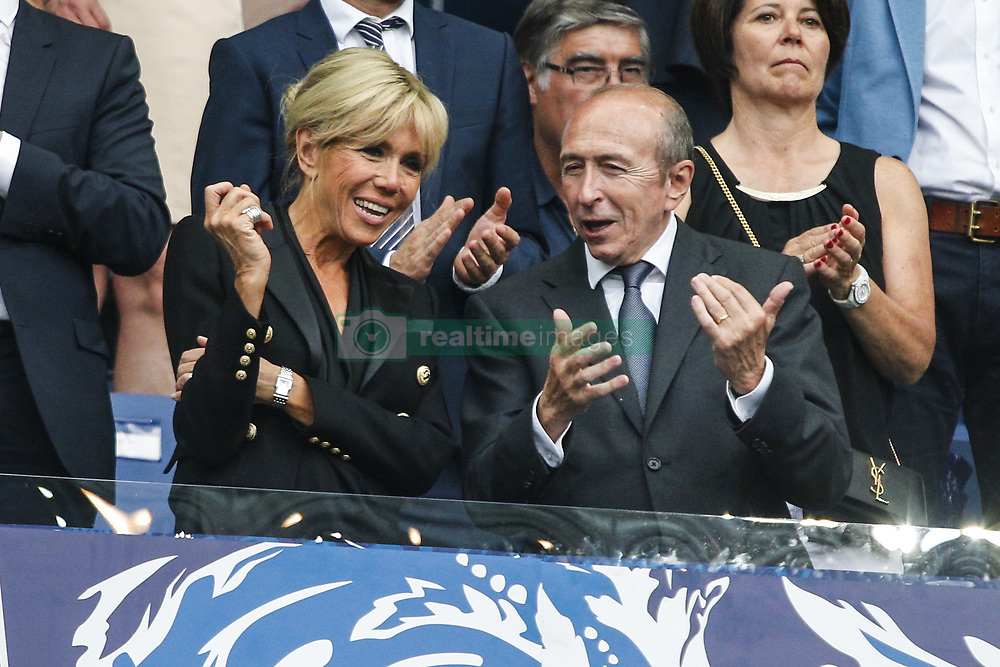 May 27, 2017 - Saint-Denis, Paris, France - French President Emmanuel Macron's wife Brigitte Macron (L) talks with French Minister of the Interior Gerard Collomb (R) during the French Cup final football match between Paris Saint-Germain (PSG) and Angers (SCO) on May 27, 2017, at the Stade de France in Saint-Denis, north of Paris. (Credit Image: © Geoffroy Van Der Hasselt/NurPhoto via ZUMA Press)