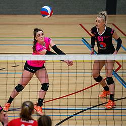 Susanne Kos of Fast, Michelle Koolen of Fast in action during the league match Laudame Financials VCN - FAST on January 23, 2021 in Capelle aan de IJssel.
