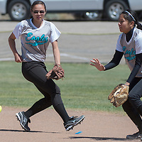 011113      Cayla Nimmo<br /> <br /> Navajo Prep Eagles Emily Kimbrough (14) and Tisha Tsosie (12) try to catch a ball before is rolls to the outfield during the State Championship Softball Game against Eunice held in Rio Rancho on Wednesday.<br /> <br /> 05/14/14