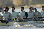 """Putney, Great Britain,  One Night Stand. right to left,  Bow, Alastair MACLEOD, 2. Shane O""""MARA, 3. John HEDER, 4. Ryan MONAGHAN, 5. Dan SHAUGHNESSY,, 6 Tom RANSLEY, crews approaching the Hammersmith Bend during the 2007 Cambridge University Trial Eights, right, One Night Stand  a few feet down to True Love,  raced over the championship Course from Putney to Mortlake  11/12/2007 [Mandatory Credit Peter Spurrier/Intersport Images]..CUBC. .One Night Stand. right to left,  Bow, Alastair MACLEOD, 2. Shane O""""MARA, 3. John HEDER, 4. Ryan MONAGHAN, 5. Dan SHAUGHNESSY,, 6 Tom RANSLEY, , Rowing Course: River Thames, Championship course, Putney to Mortlake 4.25 Miles, , Varsity Boat Race."""