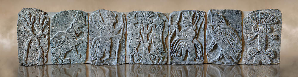 9th century BC stone Neo-Hittite/ Aramaean Orthostats from Palace Temple of the Aramaean city of Tell Halaf in northeastern Syria close to the Turkish border. The Orthostats are in a Neo Hittite style and depict mythical animals and figures that have magical properties. Pergamon Museum, Berlin. Museum Inv No: VA 8859, 8843, 8845, 8840, 8850, 8844, 8856