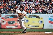 San Francisco Giants shortstop Kelby Tomlinson (37) fields a ground ball against the Arizona Diamondbacks at AT&T Park in San Francisco, California, on August 6, 2017. (Stan Olszewski/Special to S.F. Examiner)