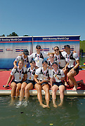 Lucerne, SWITZERLAND,  A Finals,  USA W8+, Brett SICKLER, Portia JOHNSON, Erin CAFARO, Lindsey SHOOP, Rachel JEFFERIES, Susan FRANCIA and cox Mary WHIPPLE Gold medallist, at the 2007 FISA World Cup, Lucerne, on the Rotsee Lake, 15/07/2007  [Mandatory Credit Peter Spurrier/ Intersport Images] , Rowing Course, Lake Rottsee, Lucerne, SWITZERLAND.