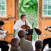 Jaroslaw Lis, Eric Dahlin, and Melinad Daetsch of The Arensky Ensemble performing in the barn at Moffatt-Ladd House in Portsmouth, NH. July 2012