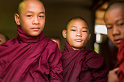 "01 MARCH 2014 - MAE SOT, TAK, THAILAND:  Burmese novice Buddhist monks in a temple in a small Burmese community in the forest just north of Mae Sot. Mae Sot, on the Thai-Myanmer (Burma) border, has a very large population of Burmese migrants. Some are refugees who left Myanmar to escape civil unrest and political persecution, others are ""economic refugees"" who came to Thailand looking for work and better opportunities.   PHOTO BY JACK KURTZ"