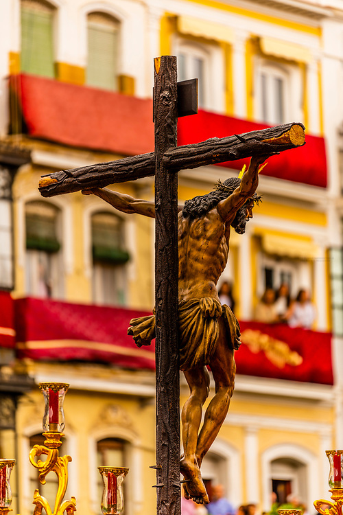A paso (float) of the crucifixion of Jesus Christ in the procession of the Brotherhood (Hermandad) San Bernardo, Holy Week (Semana Santa), Seville, Andalusia, Spain.