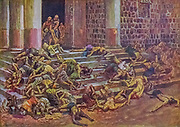 """THE DEAD BODIES THROWN OUTSIDE THE TEMPLE. II Kings x. 25. """"And it came to pass, as soon as he had made an end of offering the burnt offering, that Jehu said to the guard and to the captains, Go in, and slay them; let none come forth. And they smote them with the edge of the sword; and the guard and the captains cast them out, and went to the city of the house of Baal. From the book ' The Old Testament : three hundred and ninety-six compositions illustrating the Old Testament ' Part II by J. James Tissot Published by M. de Brunoff in Paris, London and New York in 1904"""