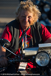 Claudia Ganzaroli on her 1928 Moto Frera during Stage 15 (244 miles) of the Motorcycle Cannonball Cross-Country Endurance Run, which on this day ran from Lewiston, Idaho to Yakima, WA, USA. Saturday, September 20, 2014.  Photography ©2014 Michael Lichter.