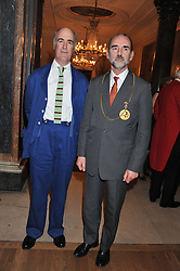 Left to right, CHARLES SAUMAREZ SMITH and President of the Royal Academy of Art PROF.CHRISTOPHER LE BRUN at a private view to celebrate the opening of the Royal Academy's exhibition of work by David Hockney held at The Royal Academy, Burlington House, Piccadilly, London on 17th January 2012.