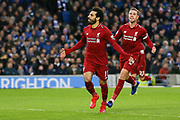 GOAL - 0-1 Liverpool striker Mohamed Salah (11) celebrates scoring from the penalty spot during the Premier League match between Brighton and Hove Albion and Liverpool at the American Express Community Stadium, Brighton and Hove, England on 12 January 2019.