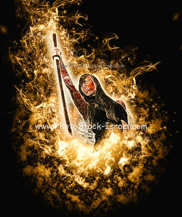 Avenging angle with a flaming sword rising from flames