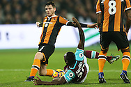 Michail Antonio of West Ham United 'falls' over in the box to win West Ham United a late penalty. Premier league match, West Ham Utd v Hull city at the London Stadium, Queen Elizabeth Olympic Park in London on Saturday 17th December 2016.<br /> pic by John Patrick Fletcher, Andrew Orchard sports photography.