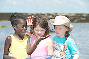 17/06/2014 Darel Ajand, Molly Garrad and Oscar Branton from Kilcolgan educate together National School on a nature walk to Tracht beach near Kinvara Co. Galway for beach surveys, a swim and whole lot of educational fun . <br />   Photo:Andrew Downes