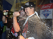 CHICAGO, IL - OCTOBER 12:  Chicago Cubs owner Tom Ricketts celebrates in the clubhouse after Game 3 of the NLDS against the St. Louis Cardinals at Wrigley Field on Monday, October 12, 2015 in Chicago , Illinois. (Photo by Ron Vesely/MLB Photos via Getty Images) *** Local Caption *** Tom Ricketts