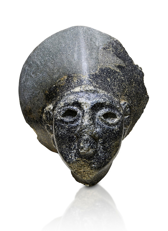 Hittite statue head of the Sun Goddess . Basalt, Hittie Period 1650 - 1450 BC. Hattusa Boğazkale. Çorum Archaeological Museum, Corum, Turkey. Against a white bacground. .<br />  <br /> If you prefer to buy from our ALAMY STOCK LIBRARY page at https://www.alamy.com/portfolio/paul-williams-funkystock/hittite-art-antiquities.html  - Hattusa into the LOWER SEARCH WITHIN GALLERY box. Refine search by adding background colour, place,etc<br /> <br /> Visit our HITTITE PHOTO COLLECTIONS for more photos to download or buy as wall art prints https://funkystock.photoshelter.com/gallery-collection/The-Hittites-Art-Artefacts-Antiquities-Historic-Sites-Pictures-Images-of/C0000NUBSMhSc3Oo