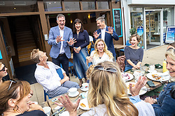 © Licensed to London News Pictures. 26/09/2021. EMBARGOED UNTIL 27 SEPTEMBER 2021 .Brighton, UK. PETER KYLE MP for Hove and Portslade , Shadow Chancellor RACHEL REEVES and Labour Party Leader SIR KEIR STARMER visit shops and cafes on George Street in Hove . The second day of the 2021 Labour Party Conference , which is taking place at the Brighton Centre . Photo credit: Joel Goodman/LNP